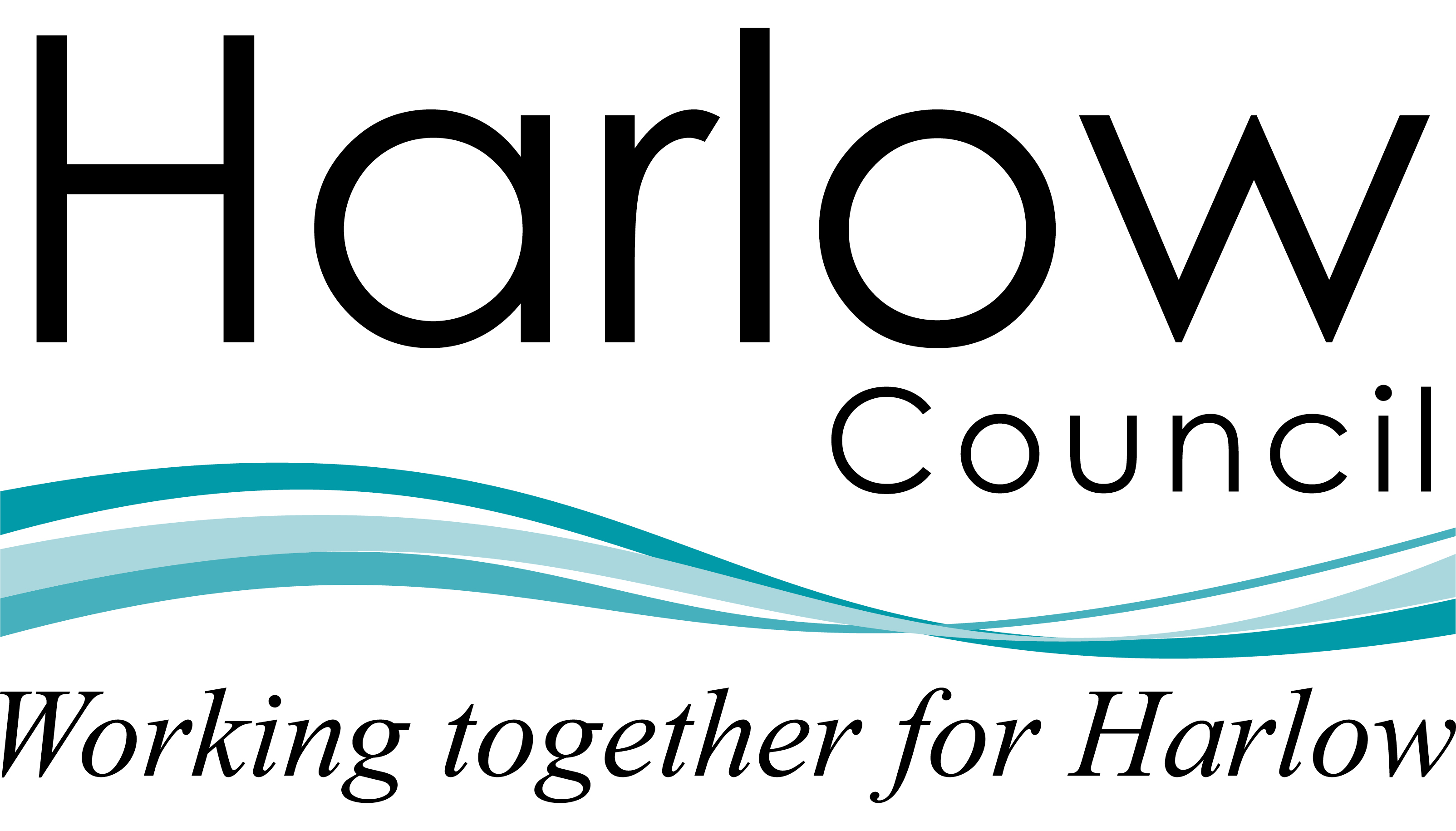 Harlow council logo leads to Harlow Council website